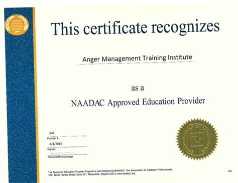 65 16 Hour Anger Management Training Institute Naadac Certificate Anger Management Completion Certificate Template