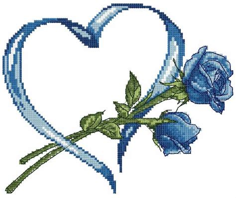 embroidery design viewer free download blue rose and heart cross stitch free embroidery design
