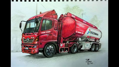 mewarnai gambar truk tangki pertamina  pensil warna