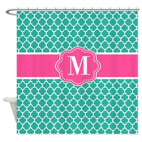 teal and pink bathroom teal pink quatrefoil monogram shower curtain by