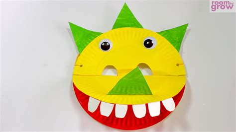 How To Make Masks Out Of Paper Plates - dinosaur mask made out of paper plates