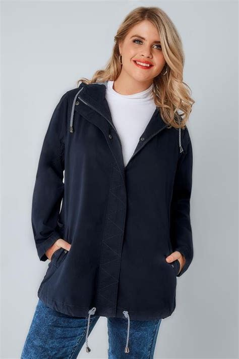 Hooded Cotton Parka navy hooded cotton parka jacket with stripe lining plus