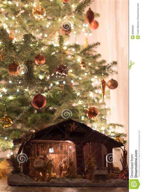 christmas tree  crib stock photo image  ancient