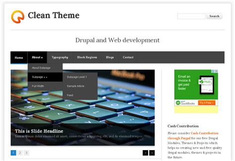 drupal theme info add js clean theme free drupal theme freedownload web design