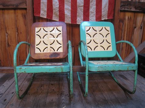 vintage 1950s metal lawn porch glider patio chairs metal