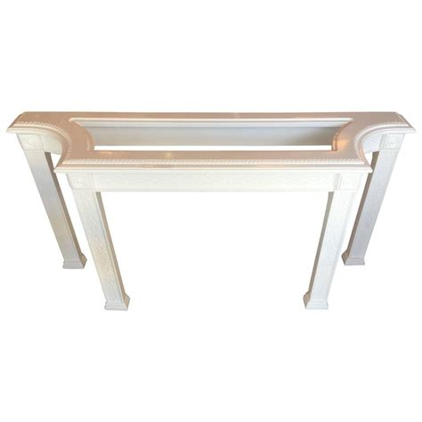 Fretwork Console Sofa Table Chinoiserie Newly Lacquered White Lacquer Sofa Table