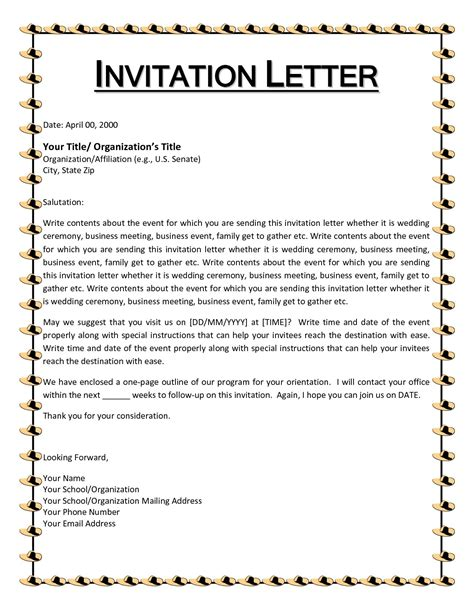 Invitation Letter Sle For Education charity invitation letter sle 28 images charity