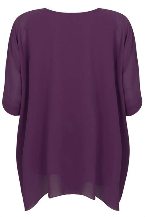 Shinta Batwing Top Cc purple batwing sleeve chiffon top with necklace plus size 14 to 32