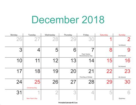 printable calendar 2018 with us holidays december 2018 calendar printable with holidays pdf and jpg