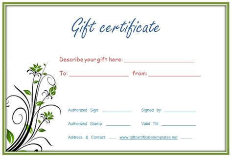 Printable Gift Certificate Template Printable Gift Certificates Templates
