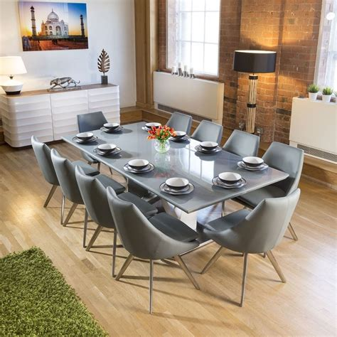 huge ten seat dining set  grey glass table  medium