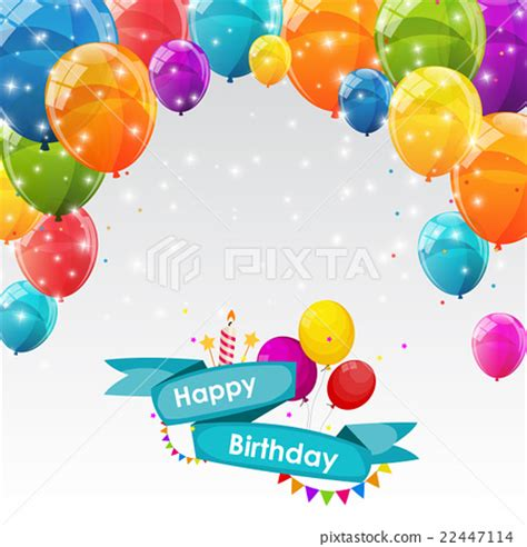 birthday card balloon template happy birthday card template with balloons vector stock