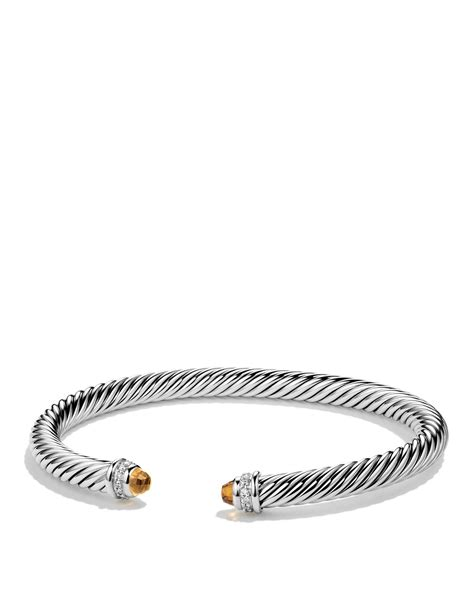 David yurman Cable Classics Bracelet With Citrine And Diamonds in Silver   Lyst