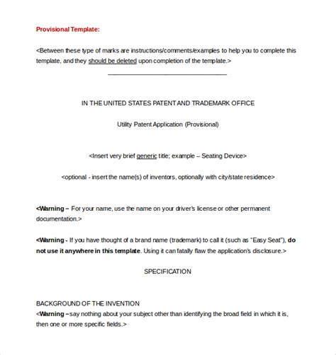 provisional patent template uspto patent application template 12 free word pdf documents