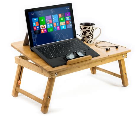 Natural Bamboo Laptop Cooling Stand Up To 15 In Bed Table Laptop Bed Desk Tray