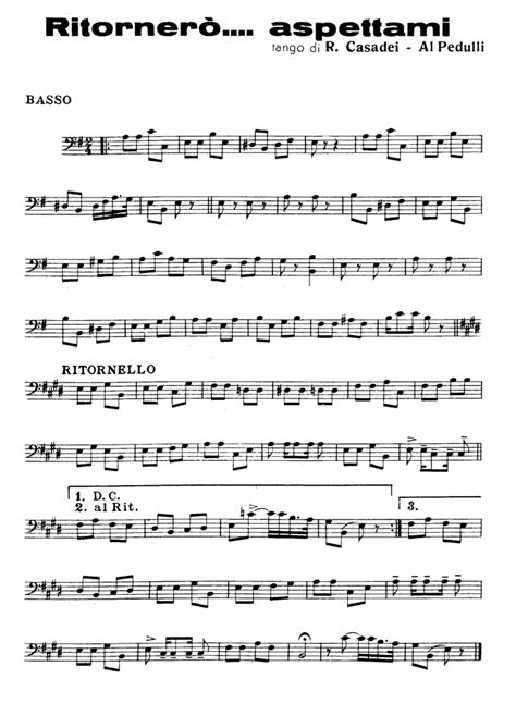 testo bass ritorner 210 aspettami casadei bass guitar sheet