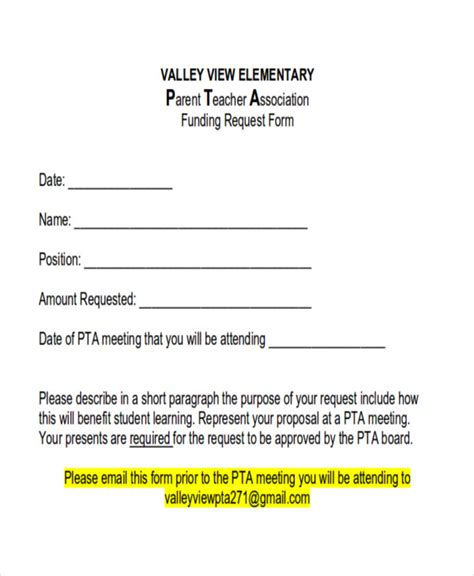 funding request form 10 sle funding request forms sle templates