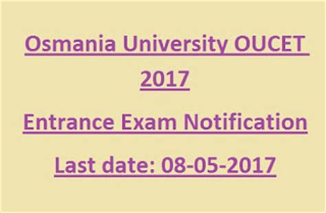 Ou Distance Mba Notification 2017 by Oucet 2017 Notification For Pg Courses M Sc Ma M M