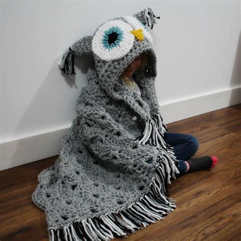 Crochet Owl Pattern Blanket by Crochet Hooded Owl Blanket Pattern