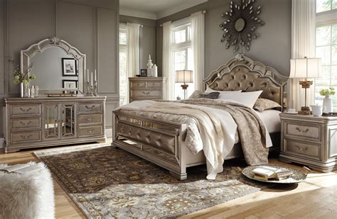 silver bedroom furniture sets birlanny silver upholstered panel bedroom set from ashley 17062 | b720 31 36 46 58 56 97 92 q326