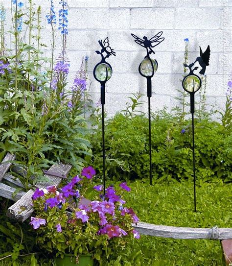 Garden Wrought Iron Decor Wrought Iron Hummingbird Marble Garden Stake