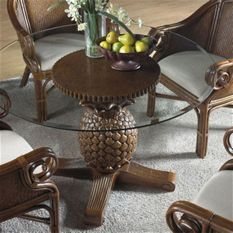 havana palm cancun palm indoor rattan wicker pineapple dining table  hospitality rattan