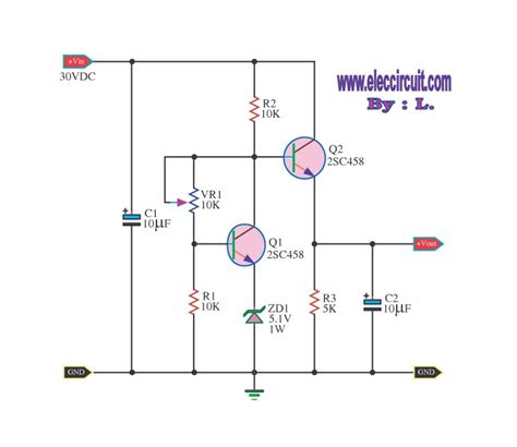 transistor regulator circuit can adjustable output voltage electronic projects circuits
