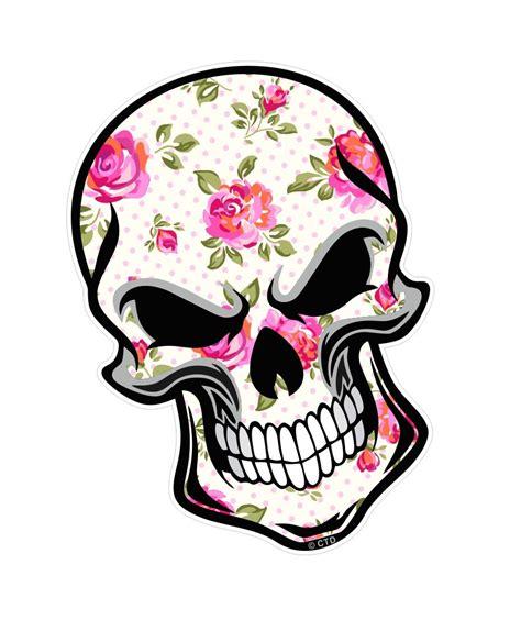 biker skull with floral shabby chic motif external vinyl car sticker 110x75mm