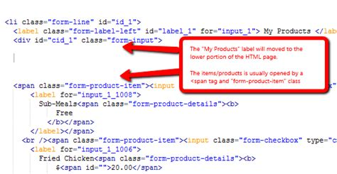 form design code in html how to add a sub category to an order form jotform