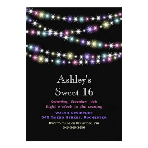 Colorful Twinkle colorful twinkle lights sweet 16 invitation zazzle