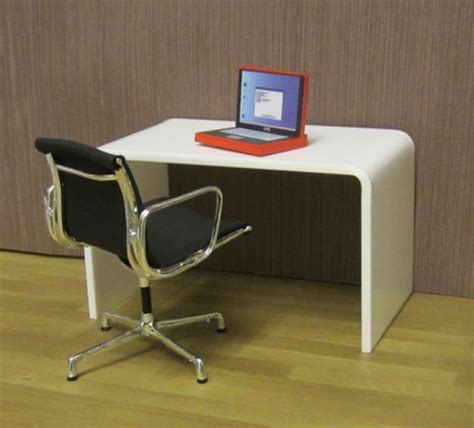 Ready Made And Custom Office Elf Miniatures White Acrylic Desk