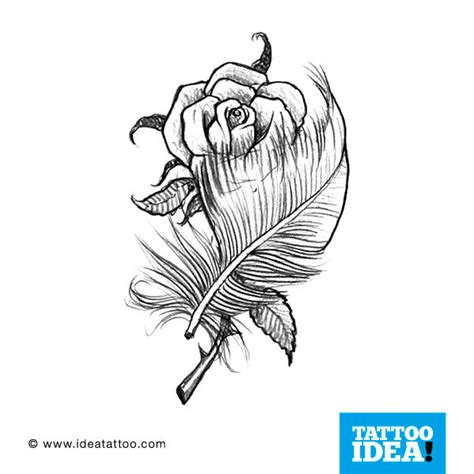 feather and rose tattoo flash feathers ideatattoo