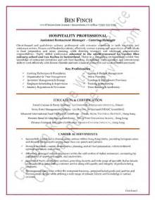 Sle Resume For Hospitality Industry by Assistant Manager Hospitality Cover Letter
