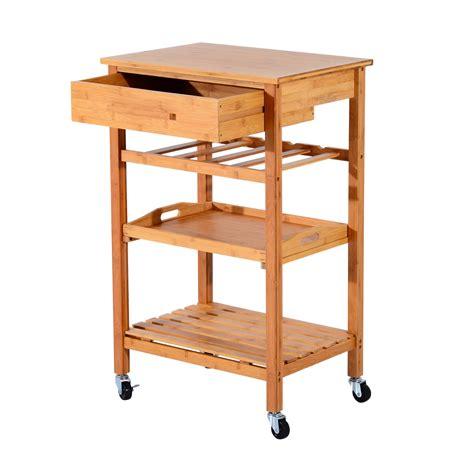 Kitchen Cart Home Goods Homcom Kitchen Cart W Drawers Lockable Wheels