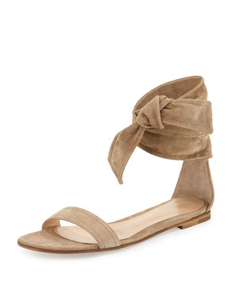 Sandal Merk Flat Beverly gianvito beverly suede ankle tie flat sandal bisque neiman