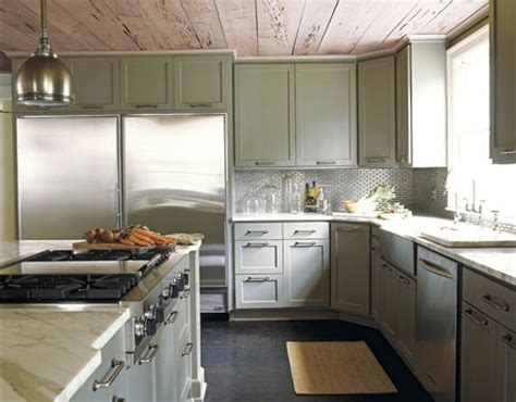 Grey Green Kitchen Cabinets Design In Wood Kitchen Cabinets To The Ceiling