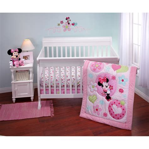 Minnie Crib Bedding Set Disney Minnie Sitting Pretty 3 Crib Bedding Set Walmart