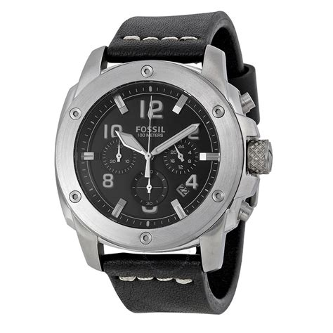Fossil Fs4928 Fossil Machine Chronograph Black Black Leather S