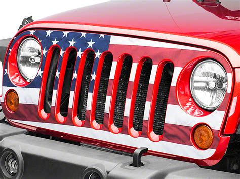 american flag jeep grill wrangler full color american flag grille decal 07 17