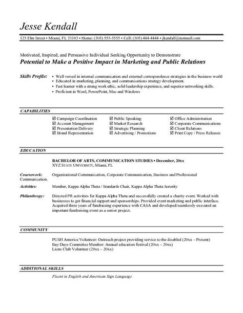 Exles Of Entry Level Resumes by Entry Level Marketing Resume Objective Top For Entry Level Marketing Professional
