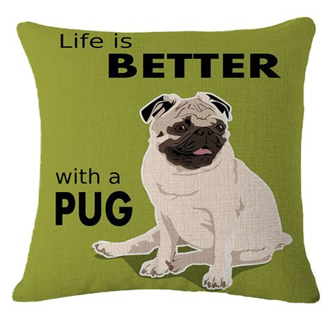 words with pug words pug patterns throw cushion cover sofa bed car decor pillow ebay