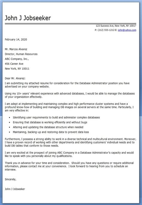 Cover Letter For Database Administrator database administrator cover letter sle resume downloads