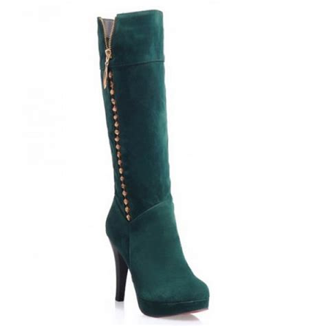 trendy suede and rivets design s knee high boots