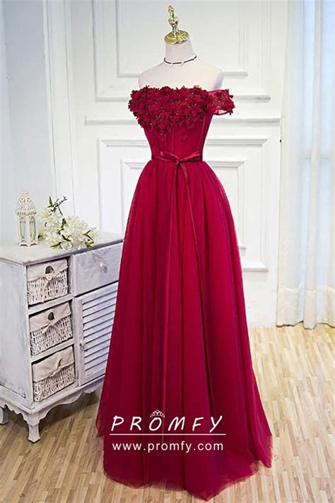 floral bodice   shoulder ruby red cute graduation