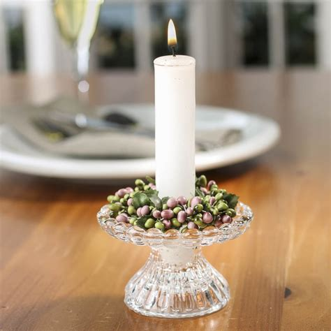 rose  green pip berry candle ring candles