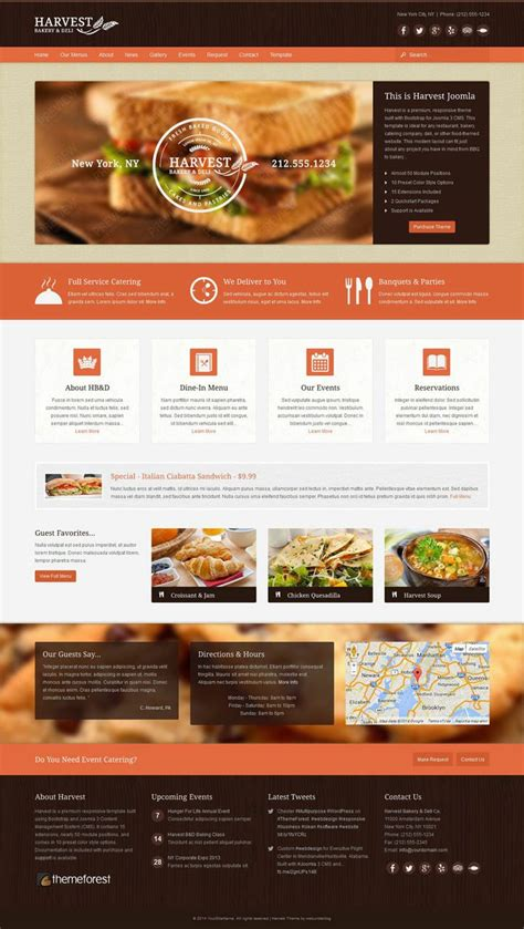 themeforest html templates free harvest responsive joomla restaurant food template