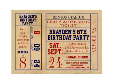 football ticket invitation template 9 sle ticket invitations psd vector eps
