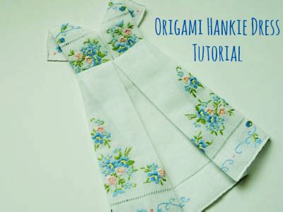 How To Fold Origami Dress - framed origami dress hankie tutorial bumblebee linens