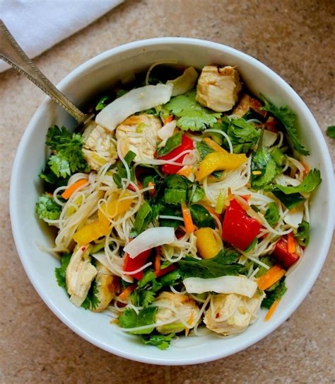 rice noodle salad chicken and rice noodle salad a saucy kitchen