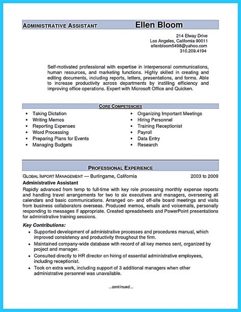 Skill Resume For Administrative Assistant by Sle To Make Administrative Assistant Resume